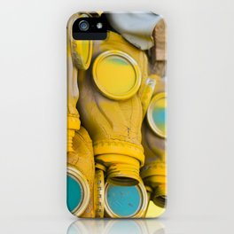 Yellow gas mask iPhone Case