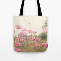 poppies Tote Bags featuring POPPIES by Monika Strigel