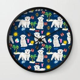 Maltese beach summer dog breed cute gifts for maltese owner beaches Wall Clock