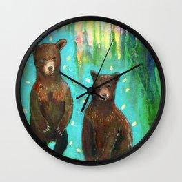 Twin Cubs at Dawn Wall Clock