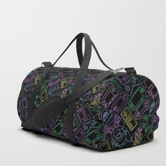 Video Game Controllers in Neon Colors Duffle Bag