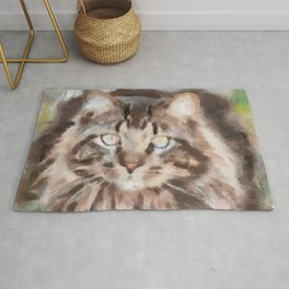 Maine Coon Cat Relaxing in the Grass Rug