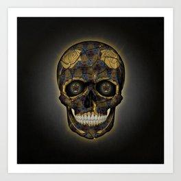 Skull Yellow | Tessellating Skulls Pattern | M. C. Escher Inspired Geometric Artwork by Tessellation Art Print