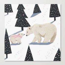 Polar Bear Christmas Canvas Print