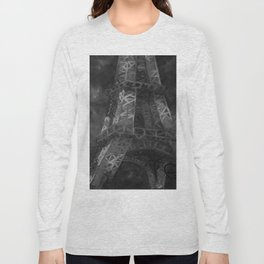 Eiffle Tower by Lu, Black and White Long Sleeve T-shirt