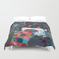 sewing Duvet Covers featuring Vintage Sewing Machine by Bari J.