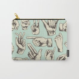 Hand Signs in Cool Retro Style  Carry-All Pouch
