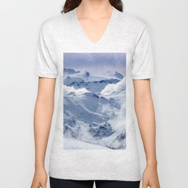 Snowy Mountains and Glaciers Unisex V-Neck