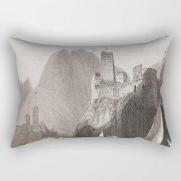 Al Jalali & Al Mirani Forts Muscat Oman Black & White Rectangular Pillow