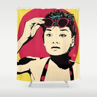 audrey Shower Curtains featuring Audrey by Vee Ladwa