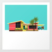 mid century Art Prints featuring Mid Century House, Miami by MidPark Prints