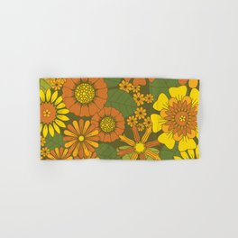 Orange, Brown, Yellow and Green Retro Daisy Pattern Hand & Bath Towel