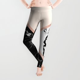 Modern black white marble rose gold color block stripes blush pink Leggings