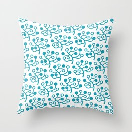 Mid Century Modern Berries Pattern turquoise Throw Pillow