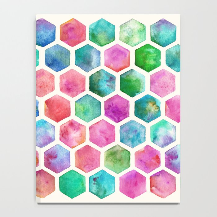 Hand Painted Watercolor Honeycomb Pattern Notebook