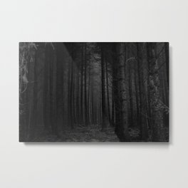 The Dense & Foggy Forest (Black and White) Metal Print
