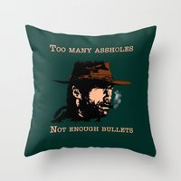 clint eastwood Throw Pillows featuring Clint Eastwood by Mr. Stonebanks