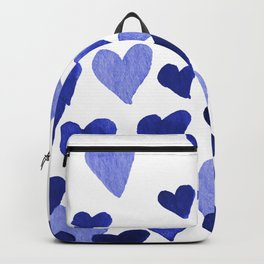 Valentine's Day Watercolor Hearts - blue Backpack