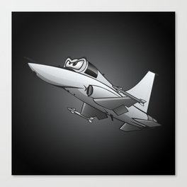 Twinjet Supersonic Aircraft Cartoon Canvas Print