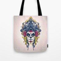 dia de los muertos Tote Bags featuring Dia de los Muertos by merci