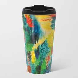 PARADISE WAITS - Beautiful Colorful Tropical Abstract Acrylic Painting Crimson Kelly Green Lagoon Travel Mug