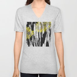Abstract Palm Tree Leaves Design Unisex V-Neck