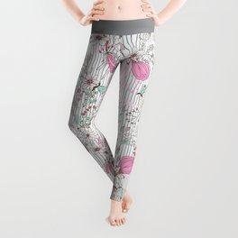 Mauve pink pastel green rustic floral gray stripes Leggings