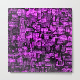 Purple Painted Abstract Squares Metal Print