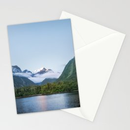Beautiful sunset color at Harrison Cove in Milford Sound Stationery Cards