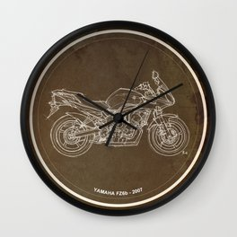 Yamaha FZ6b 2007 art print and motorcycle quote, gift for men Wall Clock