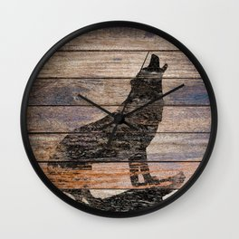 Rustic Wolf Silhouette A383 Wall Clock