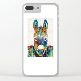 Colorful Donkey Art - Mr. Personality - By Sharon Cummings Clear iPhone Case