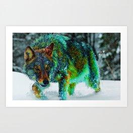Toxic Winter Wolf Art Print