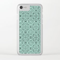 Ancient Pattern Illustration in Blue Clear iPhone Case