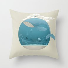 Seagull rest over whale Throw Pillow
