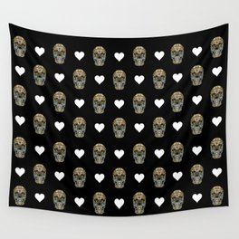 Say It with Skull and Hearts Wall Tapestry