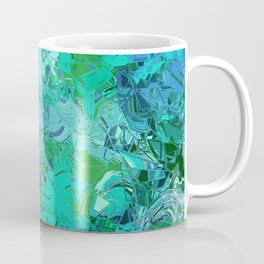 Blue Green Fractured Paint Swirls Coffee Mug