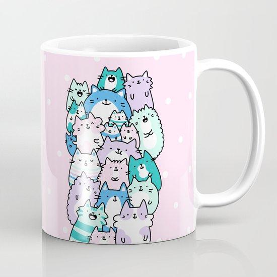 Pastel Pile Of Cats Mug By Kirakiradoodles Society6
