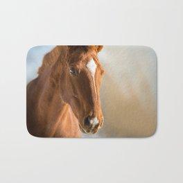Brown Horse Winter Sky Bath Mat