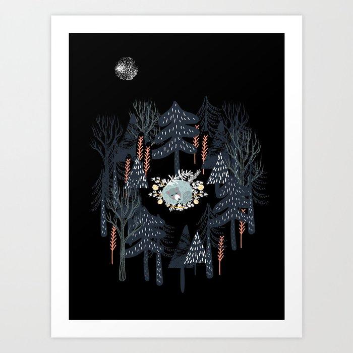 fairytale night forest Kunstdrucke