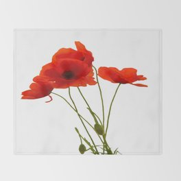 Delicate Red Poppies Vector Throw Blanket