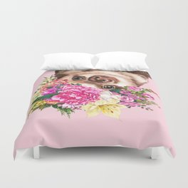 Flower Crown Baby Sloth in Pink Duvet Cover