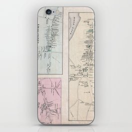 Vintage Map of The Hamptons (1873) iPhone Skin