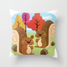 Let The Acorns Fall Throw Pillow