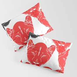 Lion Pattern Black and Red Pillow Sham