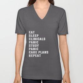 Eat Sleep Clinicals Panic Study Nurse Unisex V-Neck