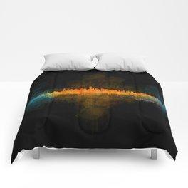 Vancouver Canada City Skyline Hq v04 dark Comforters