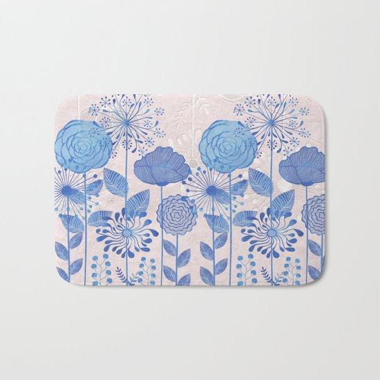 Light Blue Flowers Bath Mat