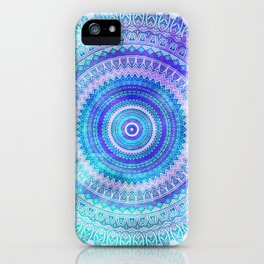 Blue Turquoise And Purple Watercolor Mandala Art iPhone Case