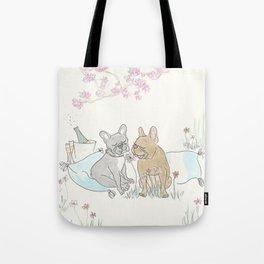 French Bulldogs Romantic Picnic Illustration Tote Bag
